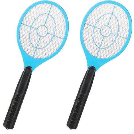 2x Tapettes à moustique électrique raquette électrique insectes volants mouches, bleu