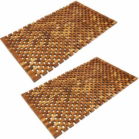 2x Tapis de salle de bain - tapis de sol antidérapant en bois d'acacia - 80x50cm