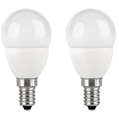 2x TCP 5w-30w E14 SES Golf Ball Mini Globe LED Light Bulb Warm White 330lm 2700K