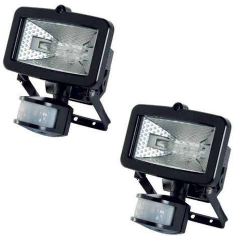 2x Timeguard Black SLB100G Energy Saving PIR Sensor 100W Halogen Wall Floodlight