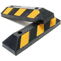 2x Tope de ruedas aparcamiento 550x150x100mm Con reflectores Goma Negro-amarillo Delimitar parking