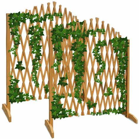 2x Treillage Jardin Brun 180x107cm Support Plantes grimpantes Brise-Vue Pliable Clôture de Jardin Treillis Extensible Bois Pare-Vue