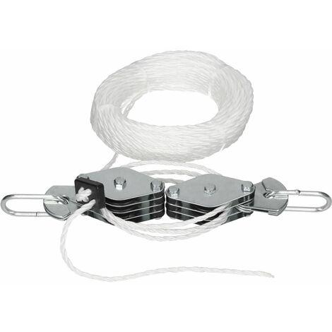 2x Treuil à poulie 180 kg corde de levage de aprox. 20 m palan à chaîne manuel