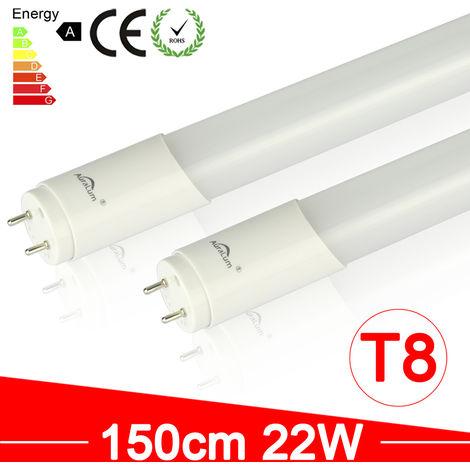2X Tubo LED T8 150cm, 1980lúmenes, 22W Blanco Natural, Para Pasillos, Oficinas, Escuelas, Hospitales
