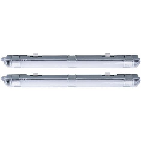 2x Tubos LED Luces Focos de techo Industria Lámparas de luz diurna Húmedo -espacio