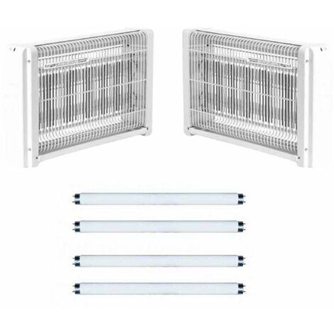 2x Tue Insectes Electrique 20w Lampe Destructeur Moustique + 4 Néons UV