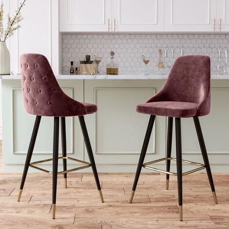 "main image of ""2x Velvet Bar Stools Kitchen Breakfast Pub Chairs High Counter Stool Restaurant, Green"""