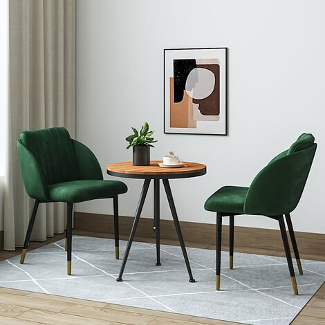 """main image of """"2x Velvet Dining Chairs Kitchen Dining Room Restaurant Office Chair Metal Legs, Blue"""""""