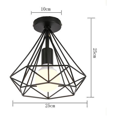 2X Vintage Diamond Black Ceiling Lamp Metal Cage Industrial Ceiling Light Creative Chandelier 25cm