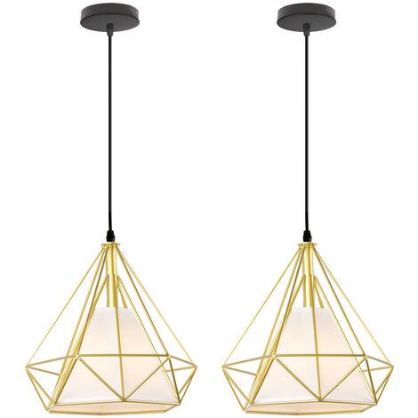 2x Vintage Hanging Light Retro Pendant Light Gold Industrial Chandelier Metal Iron Pendant Lamp E27 25cm Diamond Shape Ceiling Light