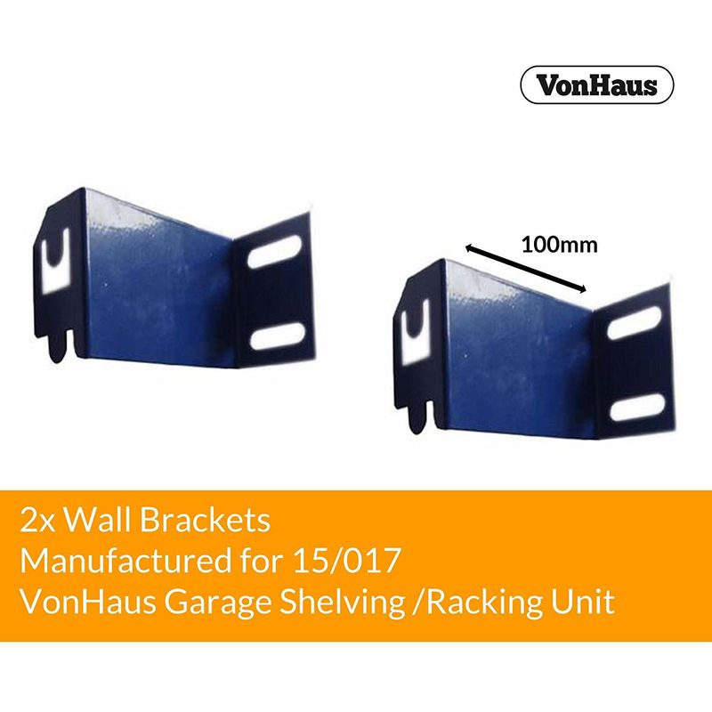 2x Wall Brackets Galvanised Steel Fixing Braces Ties 100mm Deep to securely  fit Garage Shelving Racking with Slide and Lock mechanism to your Garage /