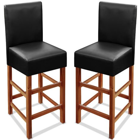 2x Wooden Bar Stool Set Back Black Breakfast Counter Padded PU Leather Acacia Wood Classy Barstools Kitchen