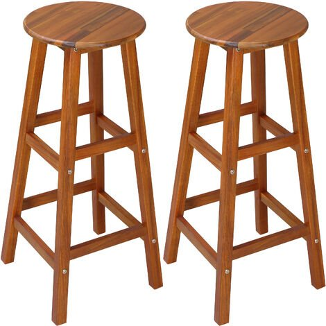 2x Wooden Bar Stool w/ Footrest & Round Seat | Strong Acacia Hardwood | Kitchen | Breakfast | Counter | Conservatory | Café | Pub