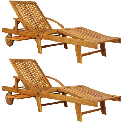2x Wooden Sun Lounger Tami Sun Foldable Deck Chair Day Bed Outdoor Patio Solid Hardwood 200 x 60 cm
