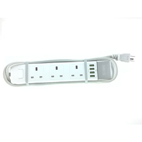 2x2A USB Ports, 3 Pin Earthed Moulded Type B US Plug, 4 UK Sockets, 1.5m Flex, & CE certified