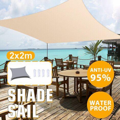 2x2M Foldable Sun Visor Sailing Outdoor Camping Hiking Yard Garden Canopy Cover (Orange)