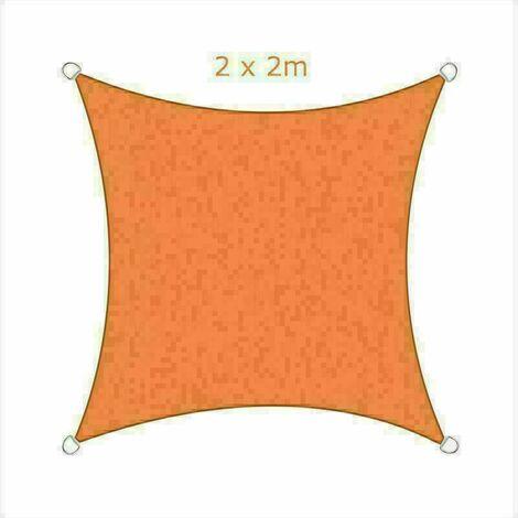 2x2m Sun Sail Shade Square Awning Canopy Garden Sun Cover Patio Sunscreen - Orange