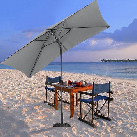 2x3M Large Square Garden Parasol Outdoor Beach Umbrella Patio Sun Shade Crank Tilt