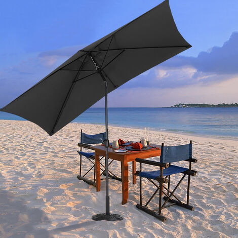 2x3M Large Square Garden Parasol Outdoor Beach Umbrella Patio Sun Shade Crank Tilt