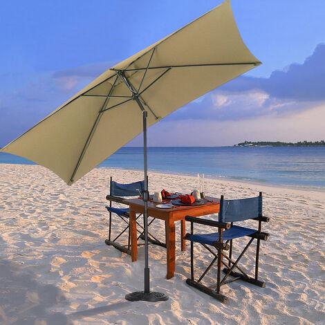 2x3M Parasol Umbrella Patio Sun Shade Crank Tilt with Round Base
