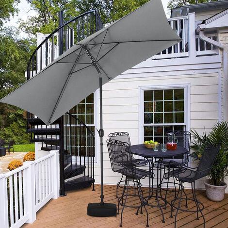 2x3M Parasol Umbrella Patio Sun Shade Crank Tilt with Square Base