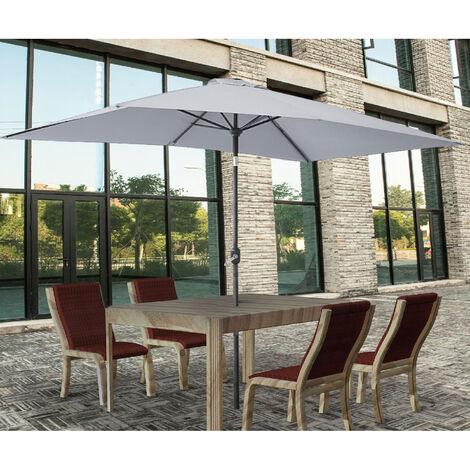 2x3m Rectangle Garden Parasol Umbrella Patio Sun Shade Aluminium Crank Tilt