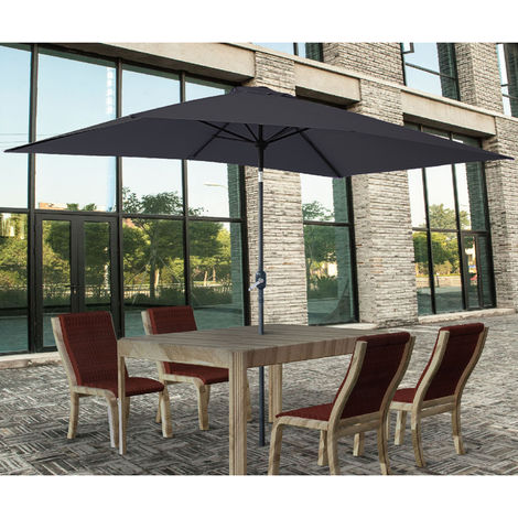 2x3m Rectangle Garden Parasol Umbrella Patio Sun Shade Aluminium Crank Tilt