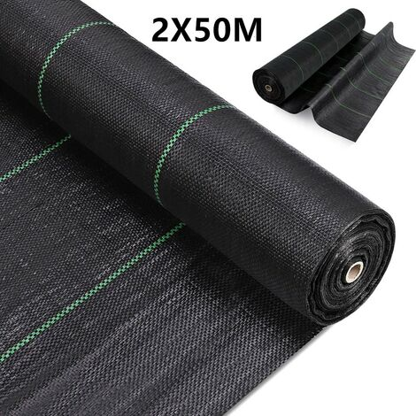 2x50M Weed Membrane Control Fabric Heavy Duty Ground Cover Membrane for Flower beds, Landscaping, Garden