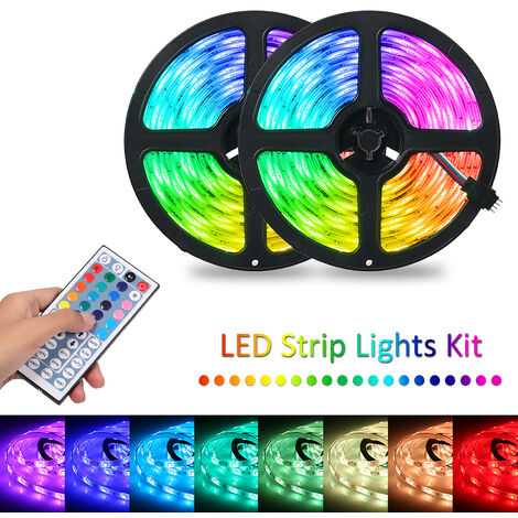 2x5m 300leds RGB Strip Lights Kit with 44 Keys IR Remote Controller Dimmable Color Changing Rope Lights