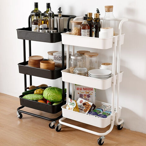 2xCarrito de Cocina con Ruedas - Carro de Almacenamiento de Multiuso para Cocina, Baño, Oficina | 43x36x86cm