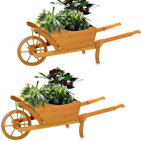 2XGarten Wooden Plant Trolley Wheelbarrow Flower Trolley Flower Pot