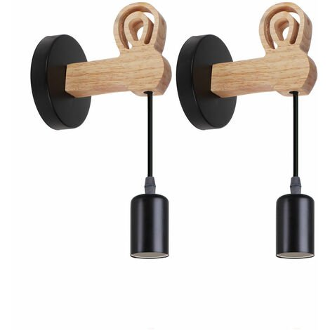 (2x)Lámpara de Pared de Madera Moderna Luz de Pared de Conejo Creativa Aplique de Pared Retro para Entrada de Escalera Junto a la Cama Negro