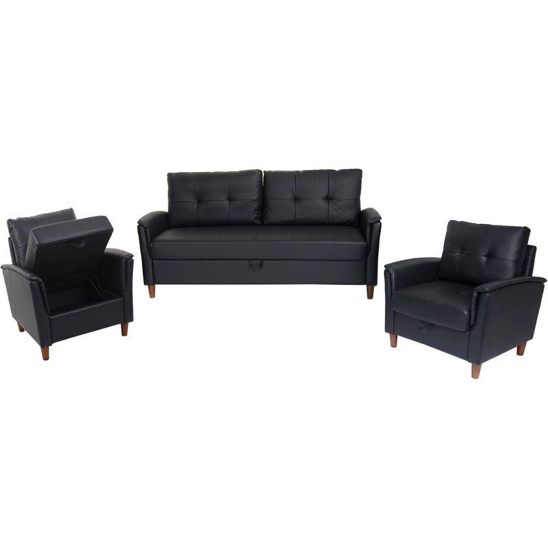 3-1-1 Couchgarnitur 697, 3er Sofa Sofagarnitur Loungesessel Relaxsessel, Gastronomie Staufach ~ Kunstleder, schwarz - HHG