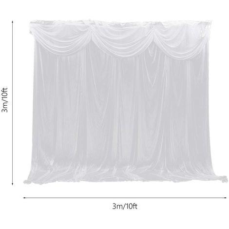 3 * 3M 10ft telón telón cortina cortina blanco escenario boda NUEVO