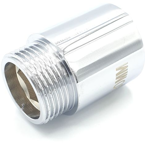 "3/4"" BSP (22mm) Pipe Thread Extension Female x Male Chrome Brass - 30mm long"