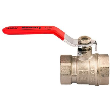 "3/4"" Inch Water Lever Type Ball Valve Female x Female Red Handle Quarter Turn"