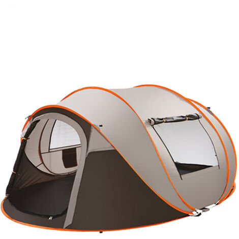 3-4 Person Camping Tent Waterproof Automatic Assembly Family Outdoor Shelter -Cafe Mohoo