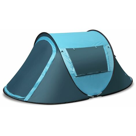 3-4 person outdoor waterproof automatic pop up shelter open fast hiking camping - Jaune
