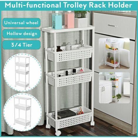 3/4 Tiers Slim Sliding Kitchen Bathroom Slim Storage Trolley Trolley Storage Shelf Support Holder (4 Tiers)