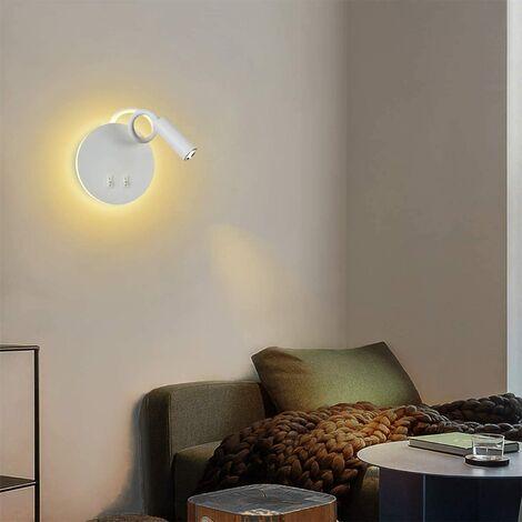 3+8W LED applique liseuse Lampe de chevet pour lire LED Lampe de lecture lampe flexible murale Blanc Applique murale Liseuse LED avec interrupteur applique de chevet 3000K Moderne