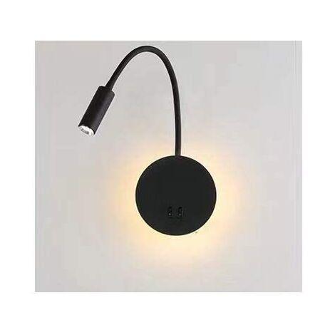 3+8W LED Lampe de chevet pour lire LED Lampe de lecture de Cygne Flexible (noir) Applique murale Liseuse LED avec interrupteur Blanc chaud 3000K Moderne