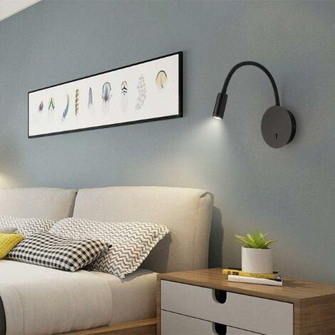 3+8W LED Lampe de chevet pour lire LED Lampe de lecture de Cygne Flexible (noir) Applique murale Liseuse LED avec interrupteur Blanc chaud 3000K Moderne[Classe énergétique A+]