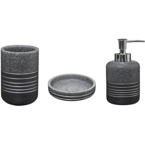 3 Accessoires de lavabo design Silver - Gris