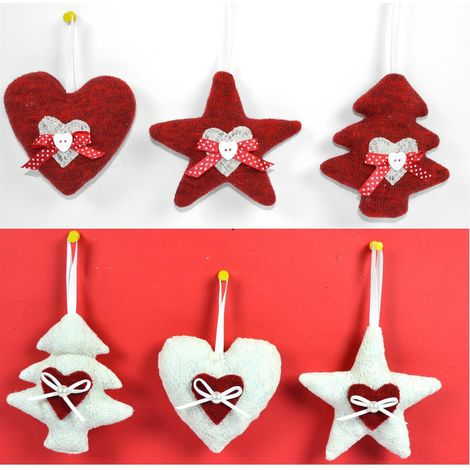 Addobbi Natale.3 Addobbi Natalizi In Tessuto Per Albero Decorazioni Accessori Idea Regalo Natale
