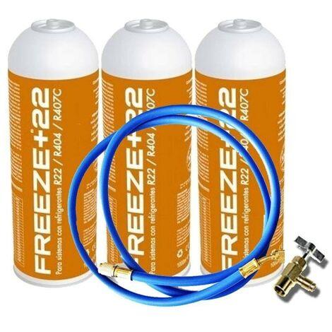 3 Botellas Gas Refrigerante Freeze +22 400Gr + Valvula + Manguera Organico Sustituto R22/R404/R407C/