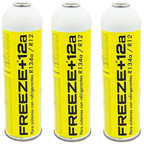 3 Botellas Gas Refrigerante Freeze 445Gr Organico Sustituto R12/R134A
