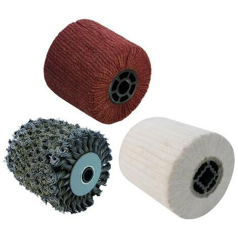 3 Brosses (métal torsadé, fibre synthétique, coton) pour renovateur REX 120C, REX 200, REX-H200 FARTOOLS