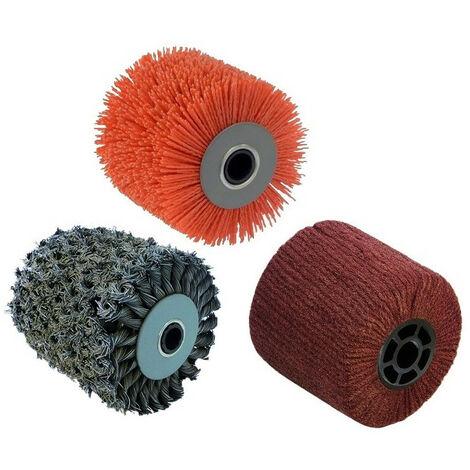 3 Brosses (métal torsadé, nylon abrasif, fibre synthétique) pour renovateur REX 120C, REX 200, REX-H200 FARTOOLS