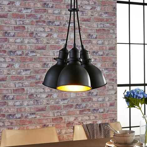 3-bulb pendant lamp Lira, black and gold