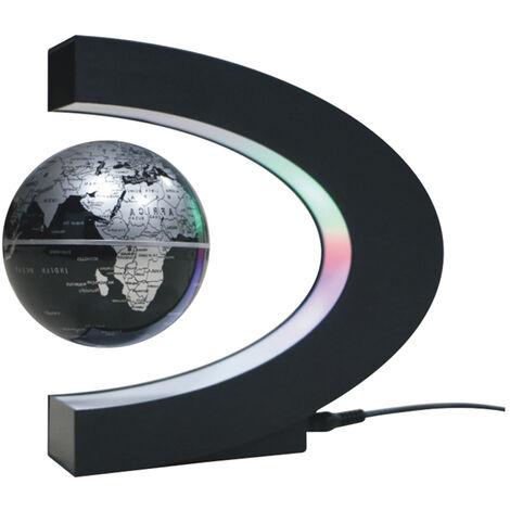 "3"" C forma de mapa levitacion magnetica Maglev globo flotante levitacion giratoria Globo del mundo con luces de colores LED para la ensenanza turistica Decoracion"